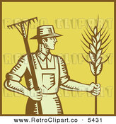 Vector Clipart of a Retro Woodcut Styled Farmer Man with a Rake and Wheat over Yellow with a Brown Border by Patrimonio
