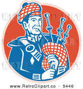 Vector Clipart of a Scottish Bagpiper Musician over a Red Circle on White by Patrimonio
