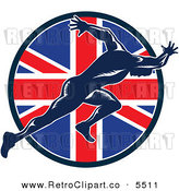 Vector Clipart of a Sprinter Running over a British Union Jack Flag Circle on White by Patrimonio