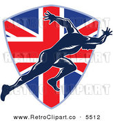 Vector Clipart of a Sprinter Running over a British Union Jack Flag Shield on White by Patrimonio