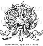 Vector Clipart of a Vintage Black and White Ornate Scallop Shell Design Element on Whiet by Prawny Vintage