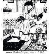 Vector Clipart of a Vintage Mother Praying with Her Daughter at Bedtime by Prawny Vintage