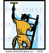 Vector Clipart of a Window Washer Man on a Ladder Reaching up and Using a Squeegee with Black Borders by Patrimonio