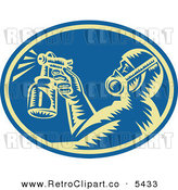 Vector Clipart of a Woodcut Retro Painter Using a Spray Gun in a Blue Oval by Patrimonio