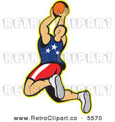 Vector Clipart of an American Basketball Player Juming with the Ball in His Hands by Patrimonio