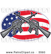 Vector Clipart of an Armalite M-16 Colt Ar-15 Assault Rifles Crossed over an American Flag Oval Design by Patrimonio