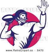 Vector Clipart of an Old Fashioned American Football Player Quaterback Throwing the Ball over a Circle by Patrimonio