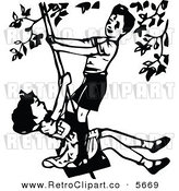 Vector Clipart of an Old Fashioned Black and White Boy and Girl Playing on a Swing by Prawny Vintage