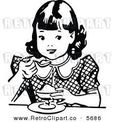 Vector Clipart of an Old Fashioned Black and White Girl Eating Dessert by Prawny Vintage