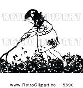 Vector Clipart of an Old Fashioned Black and White Girl Raking Autumn Leaves by Prawny Vintage