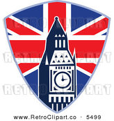 Vector Clipart of an Old Fashioned British Union Jack Shield and Big Ben Clock Tower by Patrimonio