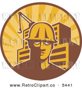 Vector Clipart of an Old Fashioned Construction Worker Man in a Hardhat in a Circle with Rays a Building and Crane by Patrimonio