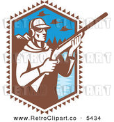 Vector Clipart of an Old Fashioned Duck Hunter Holding a Shotgun by a Mountainous Lake by Patrimonio