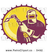 Vector Clipart of an Old Fashioned Fabricator Holding a Welding Torch in a Yellow Oval by Patrimonio