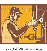 Vector Clipart of an Old Fashioned Factory Worker Operating a Drill Press in Yellow and Brown by Patrimonio