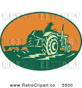 Vector Clipart of an Old Fashioned Farmer Operating a Tractor and Plowing a Field in an Orange Oval by Patrimonio