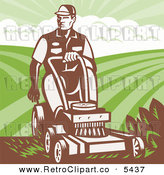 Vector Clipart of an Old Fashioned Landscaper Man Pushing a Lawn Mower by Patrimonio