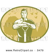 Vector Clipart of an Old Fashioned Male Farmer or Gardener Leaning on a Shovel in an Oval of Trees Birds and Butterflies by Patrimonio