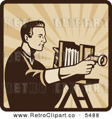 Vector Clipart of an Old Fashioned Male Photographer Shooting with an Antique Bellows Camera on a Square of Rays by Patrimonio