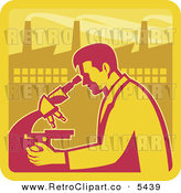 Vector Clipart of an Old Fashioned Male Scientist Looking into a Microscope with a Factory in the Background by Patrimonio