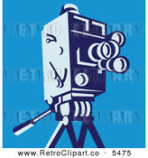 Vector Clipart of an Old Fashioned Movie Video Camera on a Tripod over Blue by Patrimonio