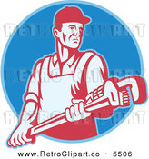 Vector Clipart of an Old Fashioned Plumber Holding a Large Adjustable Monkey Wrench on a Blue Circle by Patrimonio