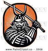 Vector Clipart of an Old Fashioned Samurai Warrior with a Katana Sowrd on Orange by Patrimonio