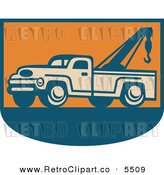 Vector Clipart of an Old Fashioned Tow Truck on Orange and Blue by Patrimonio