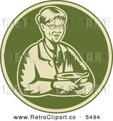 Vector Clipart of an Old Fashioned Woodcut Granny Holding a Mixing Bowl in a Green Circle by Patrimonio