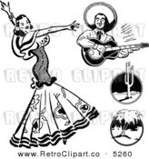 Vector Clipart of Black and White Retro Beautiful Mexican Flaminco Dancer by BestVector