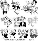 Vector Clipart of Black and White Retro Cocktail Hour Scenes by BestVector