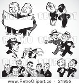 Vector Clipart of Black and White Retro Mail Man and Business Men by BestVector