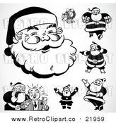 August 19th, 2017: Vector Clipart of Black and White Retro Santas by BestVector