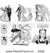 Vector Clipart of Black and White Retro Wedding Couples Successful People and Angel by BestVector