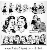 Vector Clipart of Different Scenes of Retro People by BestVector