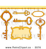Vector Clipart of Golden Vintage Skeleton Keys a Frame Border and Design Elements by BNP Design Studio