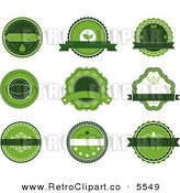 Vector Clipart of Nine Green Organic Labels by Seamartini Graphics Media