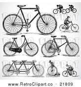 August 19th, 2017: Vector Clipart of Retro Black and White Bicycles and People Riding Bikes by BestVector