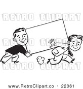 Vector Clipart of Retro Black and White Business Men Carrying a Blank Sign by BestVector