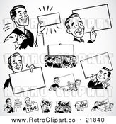 Vector Clipart of Retro Black and White Businessmen with Blank Signs by BestVector