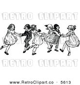 Vector Clipart of Retro Black and White Kids Dancing by Prawny Vintage
