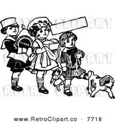 Vector Clipart of Retro Black and White Kids with Flour Bread and a Dog by Prawny Vintage