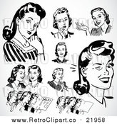 August 19th, 2017: Vector Clipart of Retro Black and White Ladies Thinking and Talking by BestVector