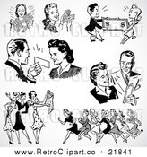 Vector Clipart of Retro Black and White Men and Women Shopping by BestVector