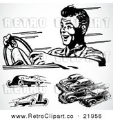 August 19th, 2017: Vector Clipart of Retro Black and White Racing Cars by BestVector