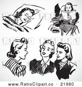 August 19th, 2017: Vector Clipart of Retro Black and White Women Sleeping, Reading and Chatting by BestVector