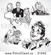 Vector Clipart of Retro People and Food by BestVector