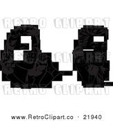 Vector Clipart of Retro People Talking on Phones by BestVector