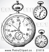 August 19th, 2017: Vector Clipart of Retro Pocket Watches by BestVector