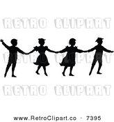 Vector Clipart of Retro Silhouetted Children Holding Hands by Prawny Vintage